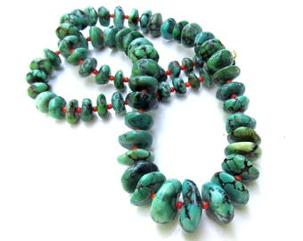 Natural Turquoise and Red Coral Necklace - Artisan Handmade Jewelry - Natural Gemstones