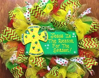 SALE & FREE SHIPPING Jesus is the Reason for the Season - Christmas Welcome Door Wreath!