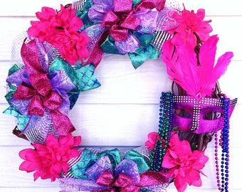FREE SHIPPING Mardi Gras - Welcome Door Grapevine Wreath