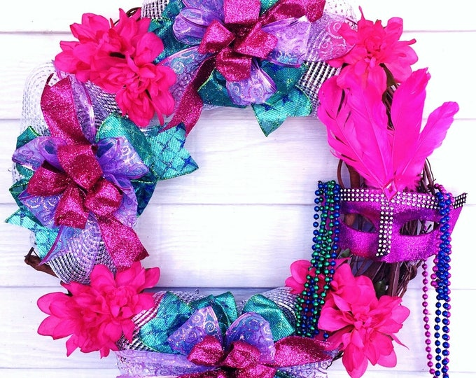 Mardi Gras - Welcome Door Grapevine Wreath