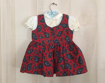 Vintage Dirndl style girls paisley dress