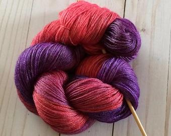 """3 Ply Sheentastic Fingering Weight Yarn """"Hummingbird Fuchsia"""" Superwash Merino/Bamboo/Nylon"""
