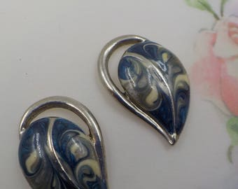Set of Enameled Pierced Earrings - Leaf Shape - Silver Tone Metal - Blue hues