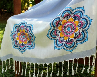 Bohemian Beach Towel Mandala Print Blue Pool Body Wrap Cover Up Thin Cotton Towel Sheet Oversized Shawl Scarf Organic Yoga Towel