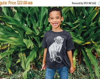 SUMMER SALE Pug on a Bicycle - Kids T Shirt, Children Tee, Blended Tee, Handmade graphic tee, sizes 2-12
