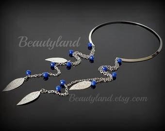 Tassel Collar Choker Boho Choker Tassel Choker Boho Necklace Silver Choker Tassel Necklace Wife Statement Jewelry Long Tassel Navy Blue