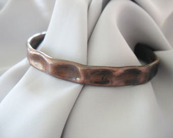 Hammered Copper Cuff Bracelet, Solid Copper, Antique Copper, Applied Patina, Primitive, Unisex, Hand Forged, Artisan Made