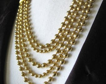 Draping Chain Statement Necklace, Draping, Ball Chain, Goldtone, Large Links, 1970s, Runway, Multi-strand