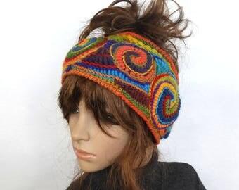 Ear Warmers, Crochet Ear Warmers Womens Rainbow Headband Ear warmers Cowl Freeform Crochet OOAK Wearable Art Freeform cowl freeform headband