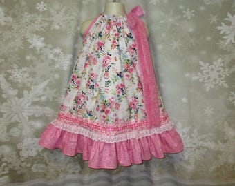Girls Dress 3T/4T Pink Floral Paisley Pillowcase Dress, Pillow Case Dress, Sundress, Boutique Dress
