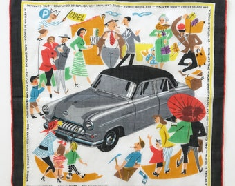 Vintage Mid Century Handkerchief Opel Car RARE Hankie Gift for Auto Lover