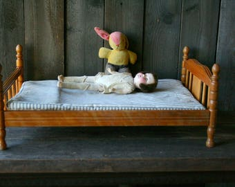 60s Wood Doll Bed With matress Vintage From Nowvintage on Etsy