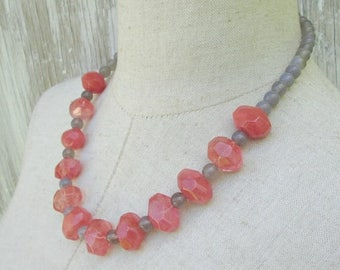 XMAS in JULY SALE Cherry Quartz Grey Chunky Beaded Necklace, Melon Pink  Gray Coral Beads