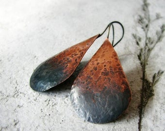 ON SALE Hammered copper earrings ombre oxidized sterling silver large teardrop shaped rustic modern - Ombre Tears