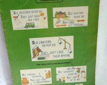 Vintage Cross Stitch Patterns, Never Die Collection II, Occupations, Creative Needle, vintage 1980, Realtors, Salesmen, Lawyers, Bankers