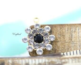 Vintage Style Swarovski Crystal Pendant Charm Set Stones Rhinestone Drops 17mm Crystal Clear Black Diamond & Jet Black - 1