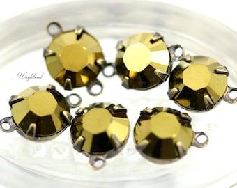 Swarovski Crystal Set Stones Vintage Glass Round Drop Connector 8mm Gold - 4
