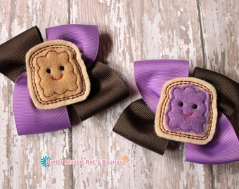 Girls Hair Bows--Peanut Butter Jelly Bows (Purple)
