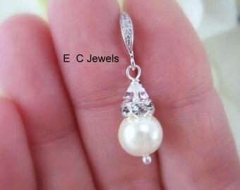 Summer Sale Elegant Pearl and Crystal Drop Earrings