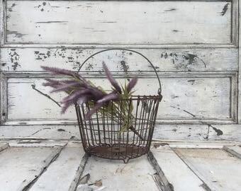 Vintage Iron Basket - Antique Basket - Hanging Basket - Vintage Basket - Egg Basket - Gathering Basket - Pendant Light  - Kitchen Basket