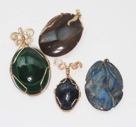 Lot of Four Stone Pendants Wire Wrapped Carved Destash Clearance