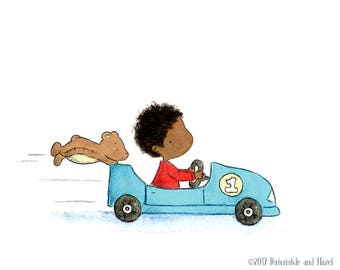 African American Baby Boy in Race Car  - Art Print - Nursery