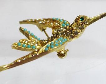 ART Hummingbird Brooch Seed Pearls Rhinestones Turquoise Beautiful Gold Tone