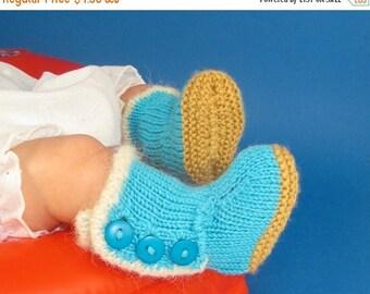 50% OFF SALE Digital file pdf download knitting pattern-Baby Fur Trim 3 Button Booties  pdf knitting pattern