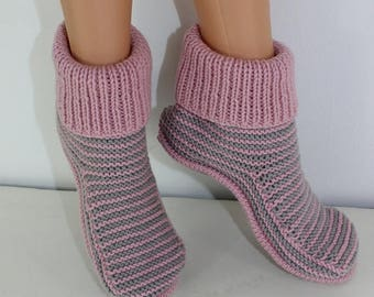 40% OFF SALE Adult Stripe Boots knitting pattern by madmonkeyknits - Instant Digital File pdf download knitting pattern