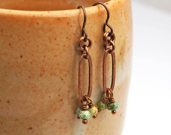 Copper long link earrings, blue green African turquoise beads