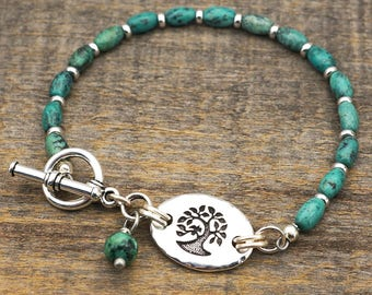 African turquoise bird in tree bracelet, light green blue semiprecious stone beads, silver, 7 3/4 inches long