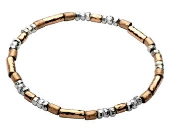 Sterling Silver and goldfilled bracelet. Sterling silver bracelets for woman.