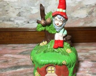 Christmas Sale Vintage Ceramic Elf Pixie on Cottage Hand Painted Figure