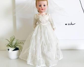 Vintage Large Hinged Bride Doll, Heart Dress Veil, Cream Dress