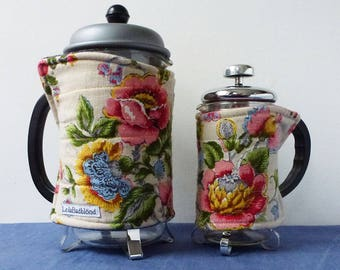 Vintage blousy flower fabric coffee pot cosy, small and medium cosies, potholder, floral fun recycled linen cafetiere cozy