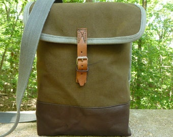 Vintage Canvas Army Satchel / Messenger Bag. Waterproof Interior. IPad bag.