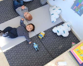 Baby Play Mat, Padded Play Mat, Padded Playmat, Folding Play Mat in gray blue Jeans and sharks print