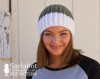 beanie pattern - two color ribbed knit beanie - color block - pdf pattern - knit hat pattern - knit pdf beanie pattern no.013