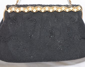 Vintage Black Beaded Purse with Ornate Clasp