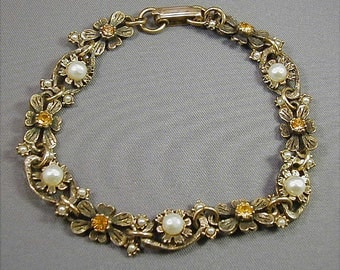 Vintage Delicate Faux Pearl and Topaz Rhinestone Bracelet
