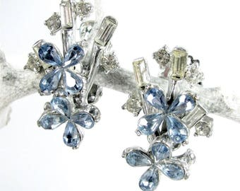 Vintage BLUE RHINESTONE FLORAL Clip Earrings Flower Silver Tone Designer Quality