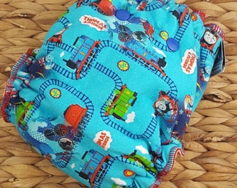 Train - One Size, (11-35#), Bamboo Fitted Diaper, Fitted Diaper, Fitted Cloth Diaper, Thomas Train, Train Diaper, 1st Birthday Diaper,Nappy