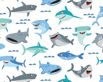Riley Blake Fabric Sharktown Main in White, Choose your cut