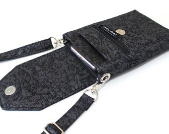 Black cell phone purse - cell phone wallet - small crossbody purse - cell phone pouch - small black purse - gift for her - mobile phone bag