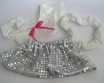 Teddy Bear Clothes, 'Lolly' White Velour Top, Silver Skirt and Velour Headband