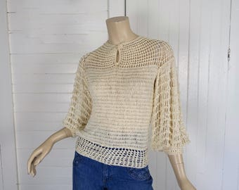 70s / 80s Crochet Sweater- Open Mesh Wool Top- 1970s / 80s Boho Hippie Festival Peasant Gypsy- Small