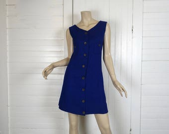 60s Mod Mini Dress in Royal Blue- 1960s Sleeveless Shift / Day Dress- Small- Ultramarine - Go Go / Minimal / Scooter