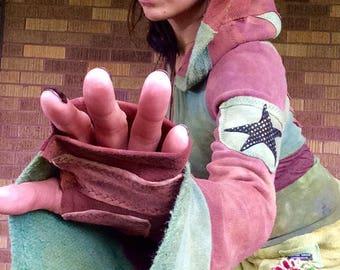 The Zendo Hoodie *HEMP FLEECE* Hooded bolero pullover crop top with Belled Sleeves