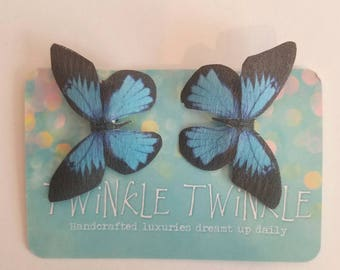 1 Pair Blue Bayou Silk Butterfly Clips