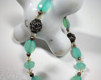 Mint green lampwork bead bracelet / Silver clasp and accents / 7-3/4 inches long / 925 / Easter / Spring / Birthday